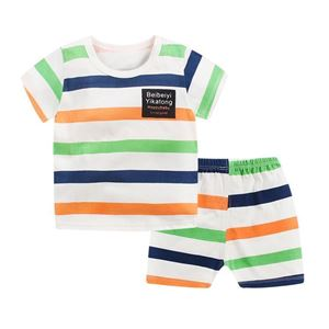 Picture of Stripe Printed Short Sleeve Casual Wear Clothing Set