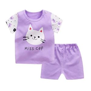 Picture of Kitten Printed Short Sleeve Casual Wear Clothing Set