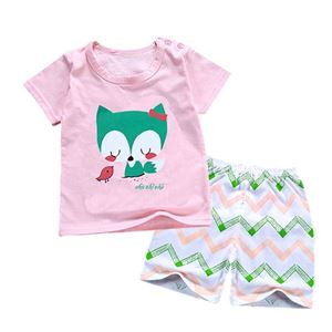 Picture of Peach Fox Printed Short Sleeve Casual Wear Clothing Set