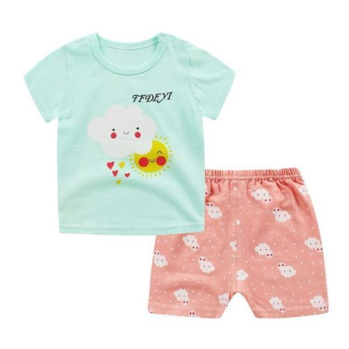 Picture of Green Cloud Printed Short Sleeve Casual Wear Clothing Set