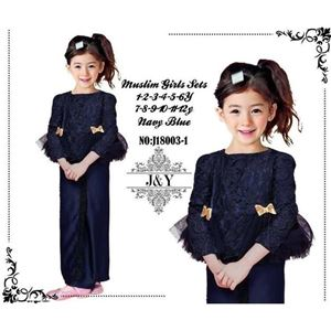 Picture of Elegant Fashion Modern Ribbon Dark Blue Lace Kurung Set (Big Size)