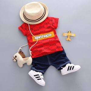Picture of Printed Letter Fashion Short Sleeve Shirt and Pant Two-Piece Set