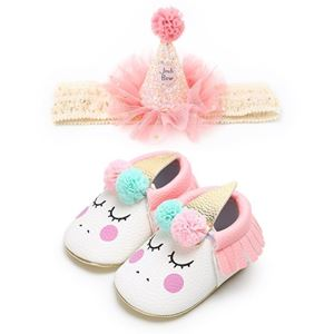 Picture of Unicorn Baby Infant Soft Sole Prewalker Shoes With Headband