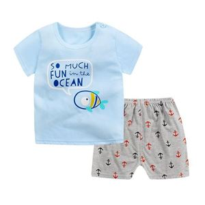 Picture of Ocean Fish Printed Short Sleeve Casual Wear Clothing Set
