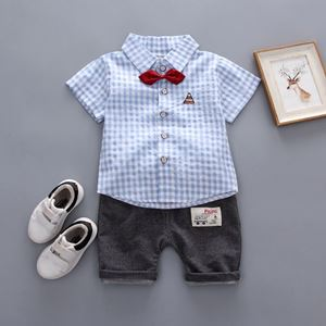 Picture of Handsome Lattice Short Sleeve Shirt and Pant Two-Piece Set
